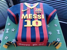 Barcelona Messi 10 Shirt - cake by Cake-D-Licious Messi Birthday, Football Birthday Cake, Soccer Birthday Parties, Soccer Party, Pastel Del Barcelona, Bolo Do Barcelona, Barcelona Party, Barcelona Football