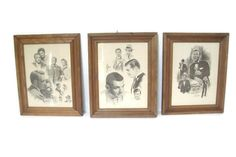 Vintage Celebrity Art, Old Hollywood, Bing Crosby, Clark Gable, Spencer Tracy, Katharine Hepburn, Signed Glen Banse 70s Pencil Drawings by RamblinRanch on Etsy