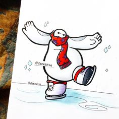 Baymax ice skating ❤️⛸ It's getting so cold here, I keep expecting it to ice over ❄️ but it's just been really rainy and windy today, traditional Scottish weather ☔️