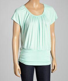 Look at this #zulilyfind! Mint Flutter-Sleeve Top by Celeste #zulilyfinds