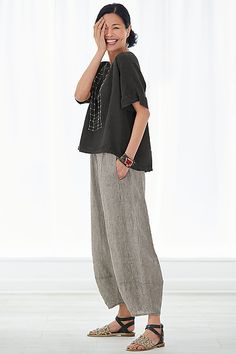 shown with the linen lantern pant by lisa bayne and the antonia sandal by la bottega di lisa