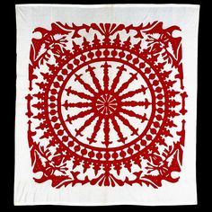 """Just one of 250 amazing Quilts & Coverlets on their emuseum. """"Rectangular quilt top worked in red cotton appliqued to a white cotton ground fabric. The design features an eagle in each corner spandrel with a centralized radiating compass. There is no batting or backing."""""""