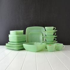 Fire King Jadeite - Charm Pattern - Vintage Dinnerware Set - Square Jadite Dishes - Set of 31