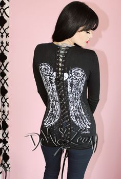 Corset Back Angel Wings V-neck Tee #demiloon #slashed #slashedtee #gothic #bikertop #angelwing