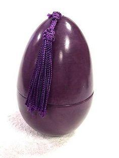 Moroccan Handpainted Terracotta Ceramic Egg Shape Lidded Jar Tassel Decor Purple