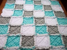 Baby Rag Quilts Aqua Grey Rag Quilt Minky by LoveableQuiltsNMore