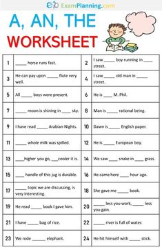 A, An, The Worksheet. We have already learned the definite and indefinite articles (a, an, the) in the previous post. Keep in mind the rules of articles and solve the exercise given here. Articles In English Grammar, English Grammar Exercises, English Grammar For Kids, English Phonics, Learning English For Kids, Teaching English Grammar, 2nd Grade Worksheets, English Lessons For Kids, English Writing Skills