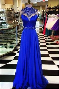 A-line High Neck Open Back Sweep Train Royal Blue Prom Dress with Beading