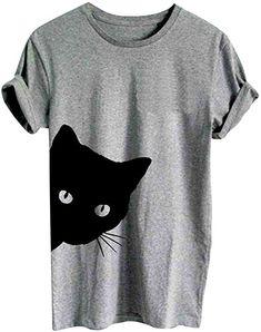 Ketamyy Femme Chats Patterns Impression Casual T-Shirt Col Rond Coupe Slim Manche Courte Coton Tops Gris L: Amazon.fr: Vêtements et accessoires