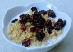 brown rice, vanilla soy milk + raisins