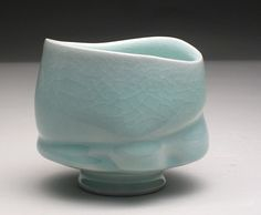 John Oles, wheel thrown and altered celadon teabowl