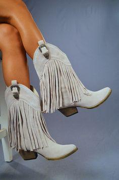 Shake It For Me Fringe Boots: Light Grey | Hope's