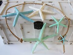 Cascading Blue Finger Starfish Garland Strand - Beach Chic Cottage Decor - California Seashell Company