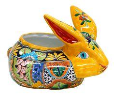 Mexican Talavera pottery rabbit.
