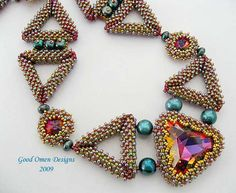 Triangulations necklace that I designed, pattern is in Beadwork, Feb/Mar 2010