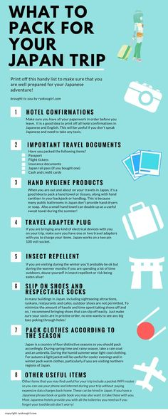 Taking a trip to Japan? Check out this super useful guide on what to pack to get the most out of your trip. What to Pack for a trip to Japan Tokyo Japan Travel, Japan Travel Guide, Go To Japan, Visit Japan, Japan Trip, Japan Japan, Tokyo Trip, Okinawa Japan, Japan Guide