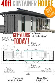 container house / Shipping Container DIY House Plans complete set of cargo container house plans construction progress + comments complete material list + tool list 40ft Container, Cargo Container Homes, Shipping Container Home Designs, Shipping Container House Plans, Building A Container Home, Container Home Plans, Container Houses, Container Design, Shipping Containers