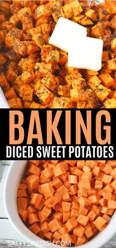 Even without cinnamon and sugar, sweet potatoes are an incredibly delicious side dish that does amazing with simple herbs and a smattering of butter. Learn how to make diced sweet potatoes in the oven and enjoy with your next main dish in just 40 minutes. Vegetarian Recipes Easy, Oven Recipes, Cooking Recipes, Spicy Recipes, Vegan Meals, Healthy Dinners, Healthy Food, Healthy Eating