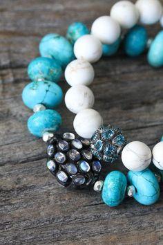 Blue Topaz White Turquoise Bracelet in Sterling Silver / Neutral Cream Bright…