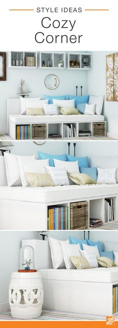 This cozy corner was created using cube storage units, adorable bedding and nautical-style accessories. The bright blue and crisp white colors keep the area looking light and cheerful while abundant shelving offers a chic storage solution to the room. Click to see more about this stylish space.... guest room idea