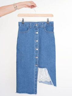 Dahlia Scout Denim Mini Skirt with Uneven Hem and Broderie Insert