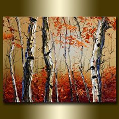 Autumn Birch Landscape Painting Oil on Canvas Textured Palette Knife Modern Original Tree Art 12X16 by Willson Lau