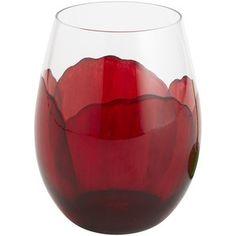 Pier One Red Poppy Stemless Wine Gl