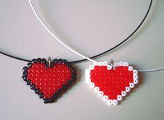 Pixel Heart 8 bit Pendant in Black or White Stainless by BeadxBead