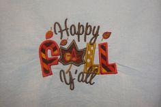 Happy Fall Y'all flour sack kitchen towel tea towel by jessiemae