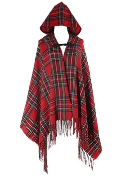VamJump Winter Plaid Tartan Hooded Scarves Cashmere Ponchos Cape Scarf Shawl Red at Amazon Women's Clothing store: