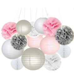 14pcs mixte tissu blanc gris rose pompons suspendus boule de