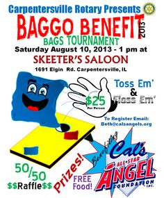 Baggo Tournament to Benefit Cal's All Star Angels hosted at Skeeter's Salon in Carpentersville!