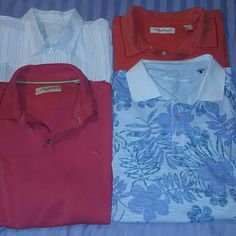 Tommy Bahama Bundle of 4 Shirts 2X 4 great shirts from Tommy Bahama! 1 woven short sleeve button down shirt & 3 polos. Great vacation shirts & what a deal! 4 for the price of one!!! Tommy Bahama Tops Button Down Shirts