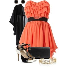 Coral & Black, created by colierollers on Polyvore