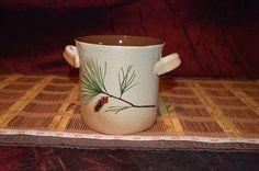 Kitchen Utensil Ceramic Crock Double Handle Pine Needle & Cone Design  #Unknown