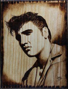 Elvis Wood Burned Portrait by Debbie-Trotter