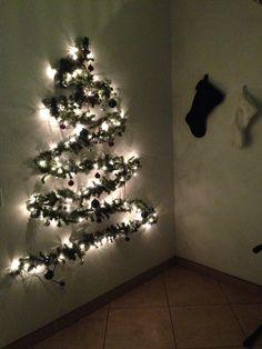 Great for a small apt Wall Christmas Tree, Christmas String Lights, Christmas Fabric, Xmas Tree, Winter Christmas, Christmas Time, Christmas Decorations, Merry Christmas, Holiday Crafts