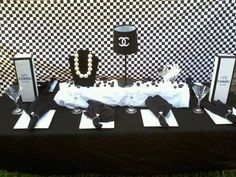 Fun table decor ideas for a Chanel baby shower