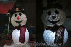 Muñeco de nieve hecho con vasos de plastico – Manualidades faciles