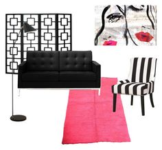 """""""Hot pink living"""" by jessicamaraea on Polyvore featuring interior, interiors, interior design, home, home decor, interior decorating, Oliver Gal Artist Co., Rove Concepts and Coaster"""