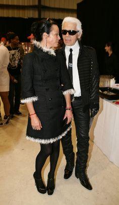 Karl Lagerfeld and Lady Amanda Harlech via http://www.zimbio.com