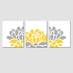 Floral Trio - Set of Three 8x10 Prints - Modern Wall Art - Choose Your Colors - Shown in Pink, Yellow, Gray and More. $55.00, via Etsy.