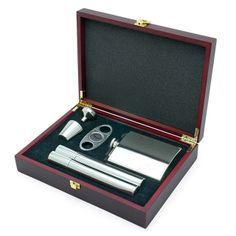 groomsmen gift Byrne Flask and Cigar Gift Set , 6-piece (Engravable), from HomeWetBar.com