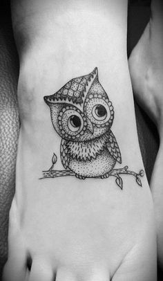 """♥ Small owl tattoo """"on the leg"""", Full Gallery / http://picssound.blogspot.com/2014/03/Best-Owl-Tattoo-Designs-with-Photos.html"""