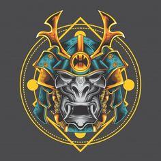 Samurai Swords, Samurai Warrior, Vector Design, Vector Art, Dragon Tattoo Back, Martial Arts Weapons, Armor Tattoo, Japanese Warrior, Free Vector Graphics
