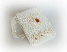 Crocheted handbag stone bag amber amber handbag by styledonna