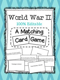Social Studies Matching Card Game covering World War II! Perfect for 5th grade Georgia Teachers!!! $