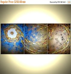 ORIGINAL Large Abstract Art Gold Metallic Textured by Laffertyart