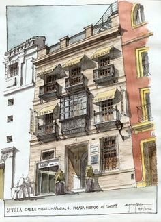 Alfonso Garcia Garcia, Jan 17 Cool Sketches, Drawing Sketches, Art Drawings, Landscape Sketch, Landscape Drawings, Watercolor Architecture, Art And Architecture, Sketches Arquitectura, Pen And Watercolor