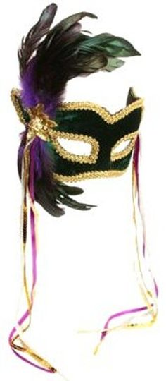 Mask! Masquerade Ball Green Velvet Headband Half Mask w Feathers & Glitter #BigAppleCostumes #HeadbandMask #Masquerade
